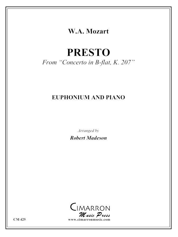 Mozart - Presto from Concerto in Bb, K.207 - Euphonium and Piano