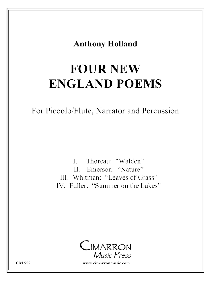 Holland - Four New England Poems - Piccolo Flute, Narrator and Percussion