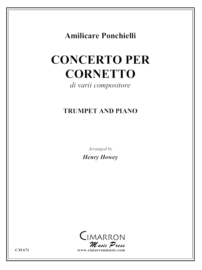 Ponchielli - Concerto per Cornetto Op. 198, Partitura N. 184  - Cornet and Piano