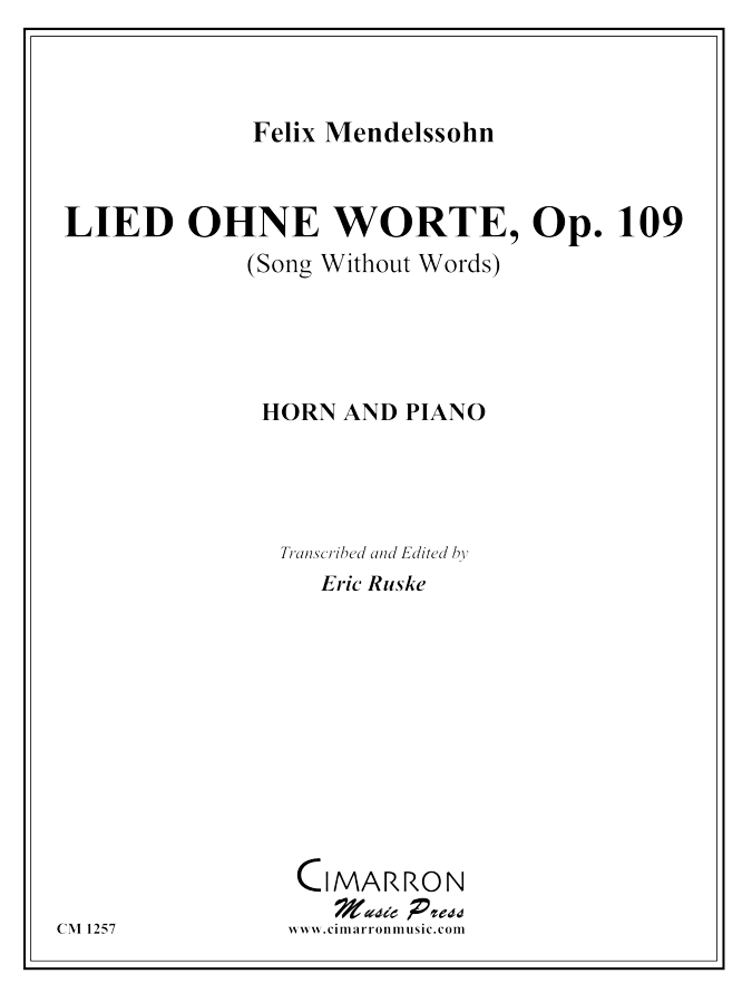 Mendelssohn - Lied Ohne Worte, Op. 109 - Horn and Piano