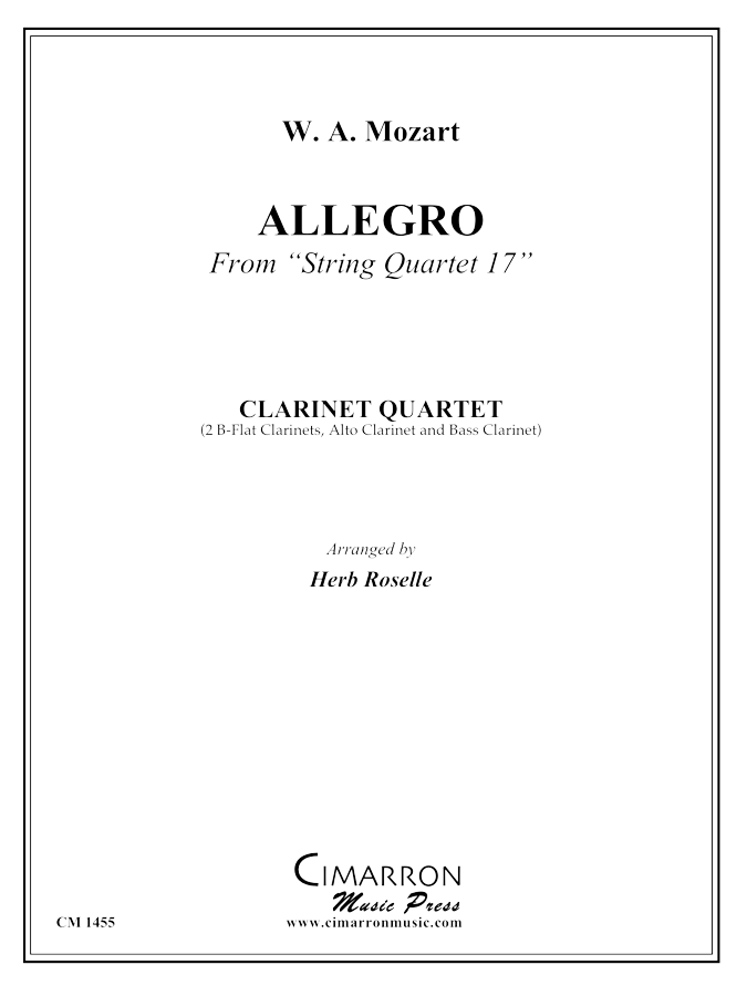 Mozart - Allegro from String Quartet 17 - Clarinet Quartet