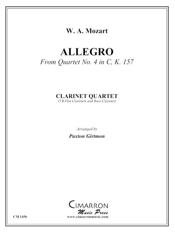 Mozart - Allegro from Quartet No. 4 in C, K. 157 - Clarinet Quartet