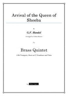 Handel - Arrival of the Queen of Sheeba - Brass Quintet