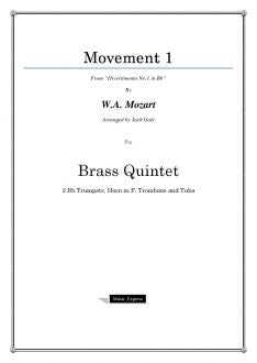 Mozart - Divertimento No.1 in Bb - Brass Quintet