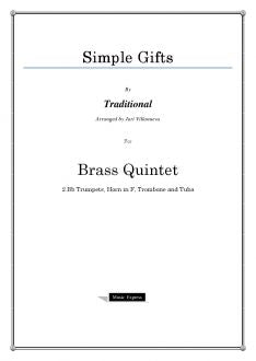 Traditional - Simple Gifts - Brass Quintet