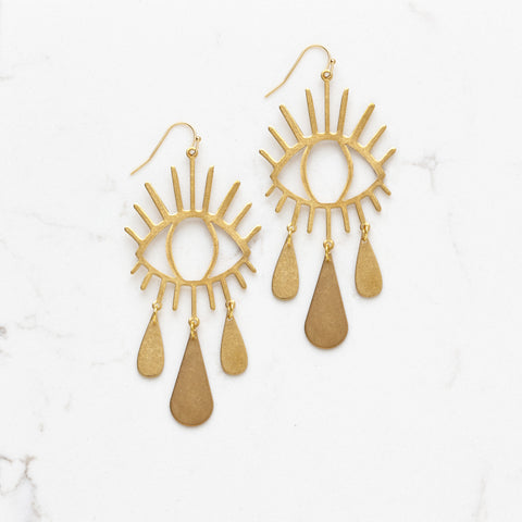 Extra Large Brass Tear Drop Eye Earrings