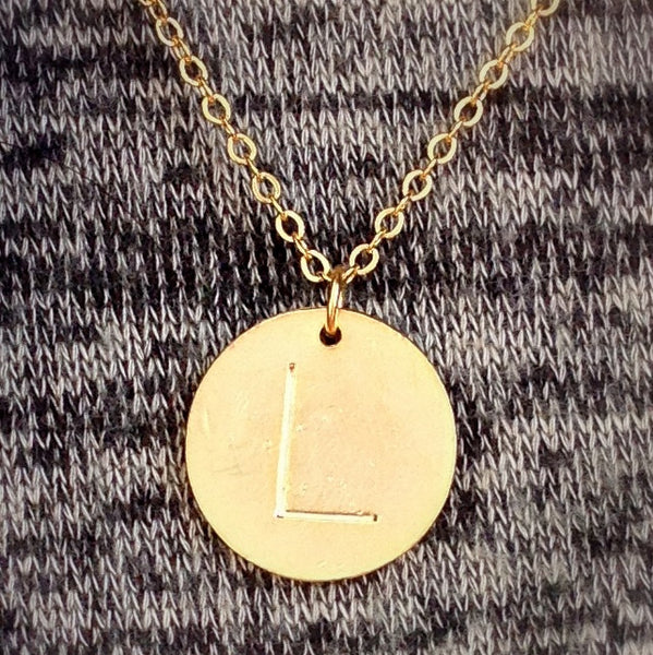 Custom Stamped Initial Disc Necklace
