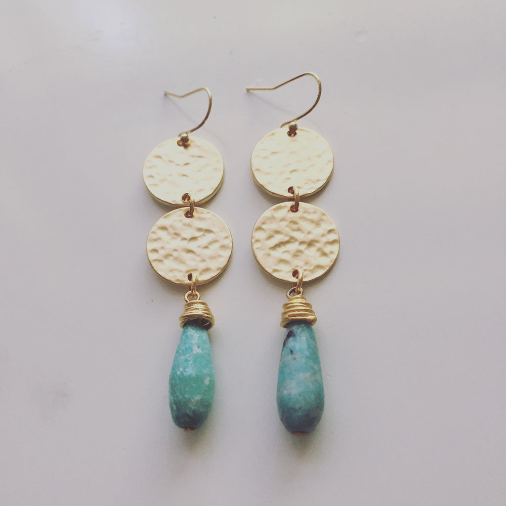 Double Hammered Disc and Stone Drop Earrings