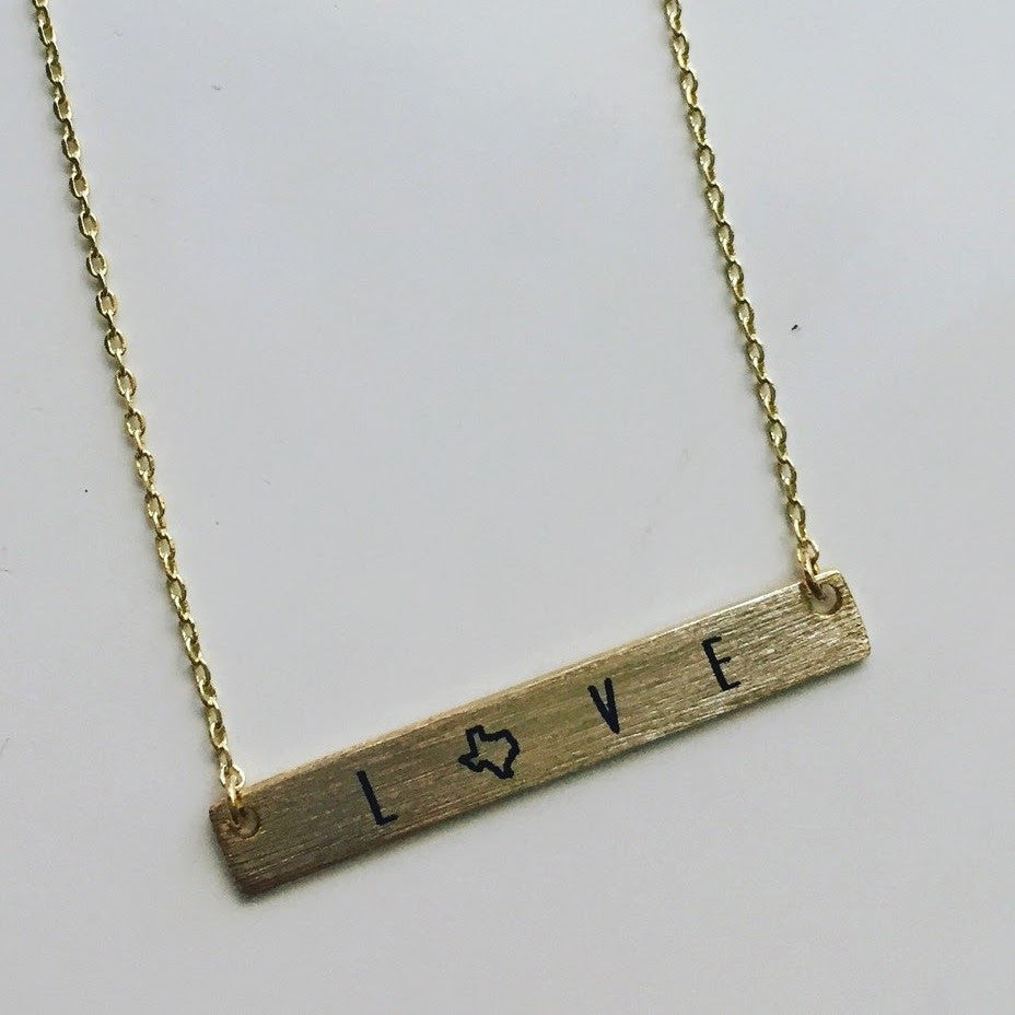 Texas Love Bar Necklace