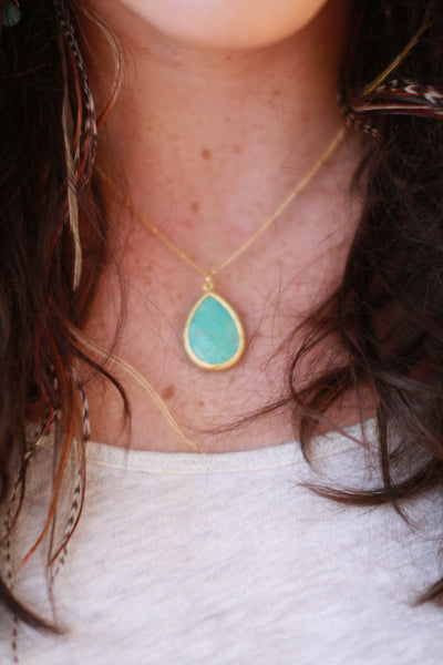 Large Stone Drop Necklace