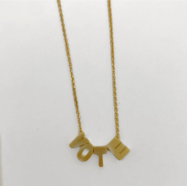 Block Letter VOTE Necklace
