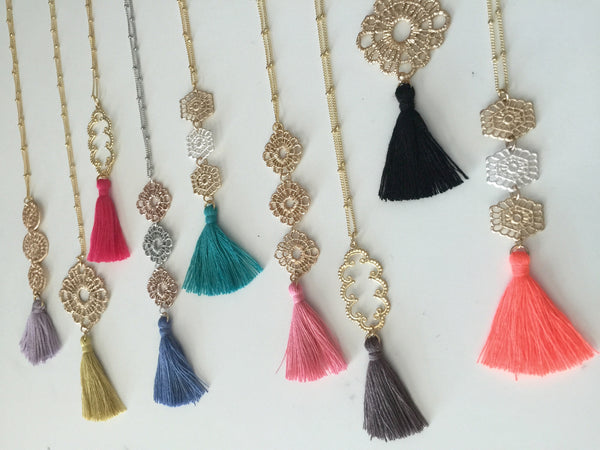 Filigree Metal Lace Silk Tassel Necklace