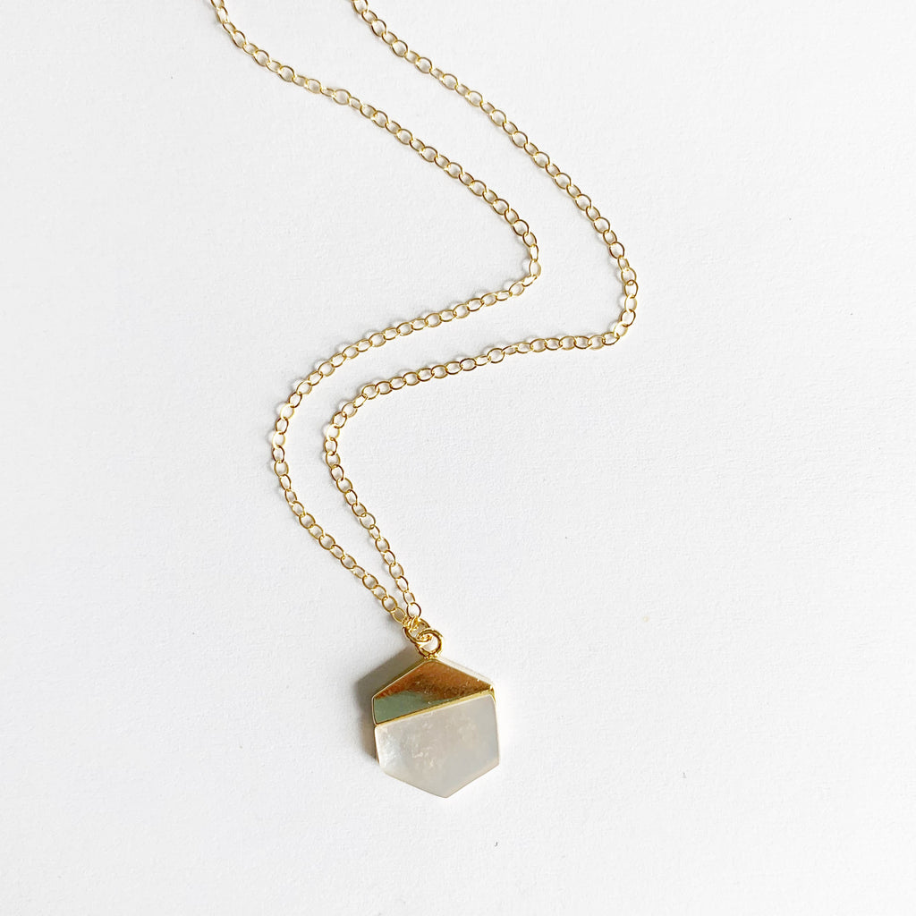 Hexagon Mother of Pearl Necklace