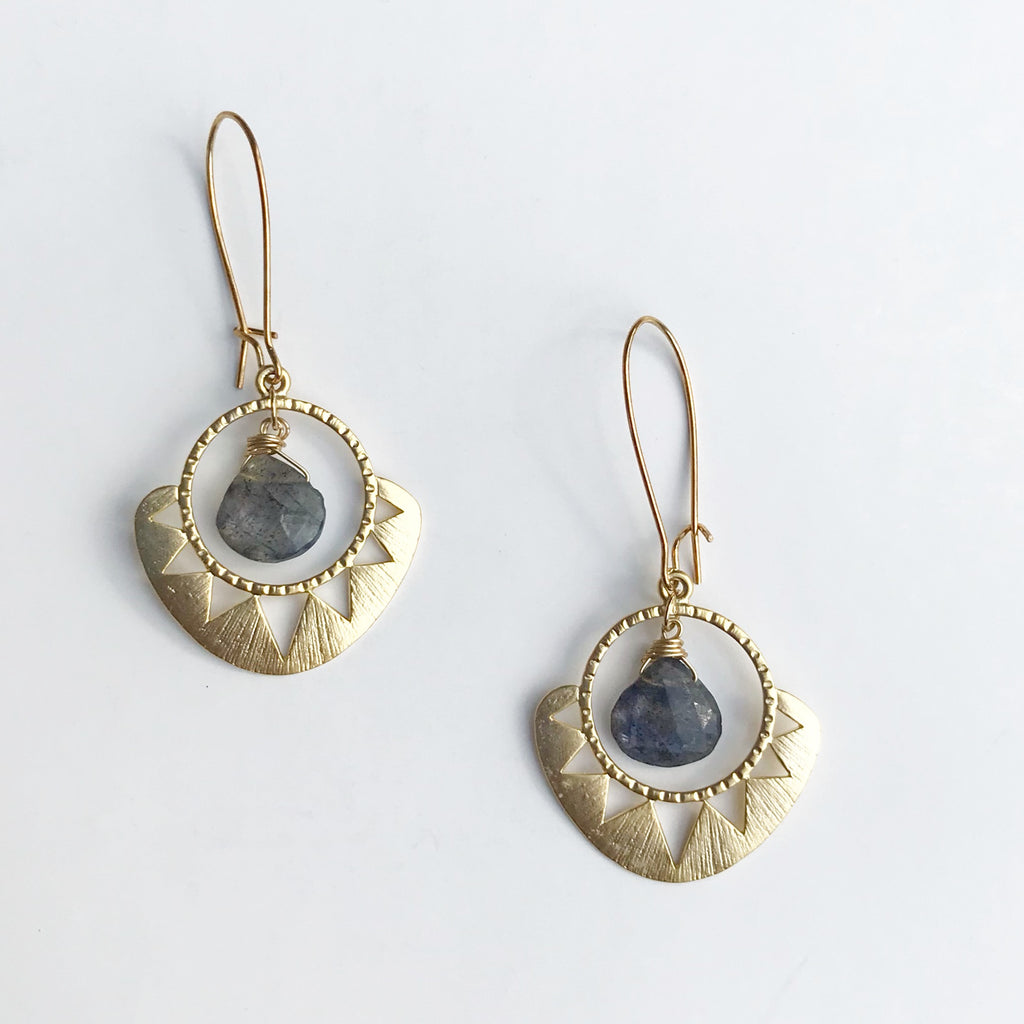 Geometric Sun Briolette Earrings