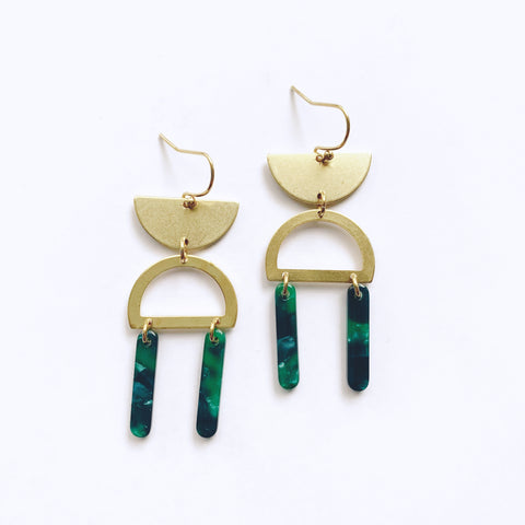 Brass and Acetate Dancer Earrings