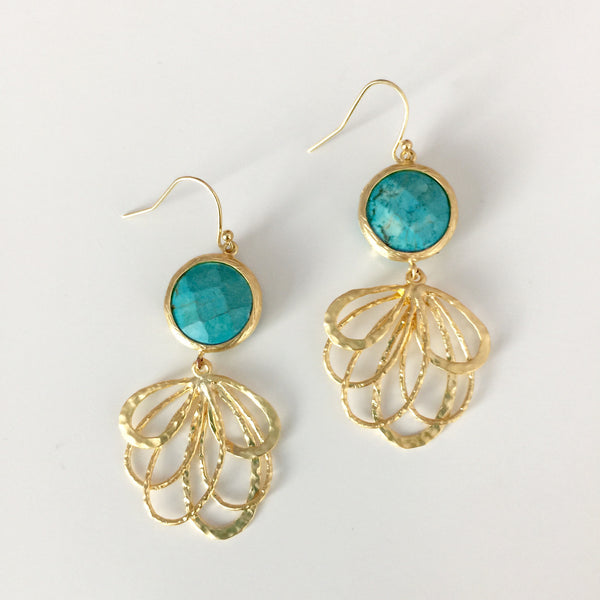 Peacock Stone Drop Earrings