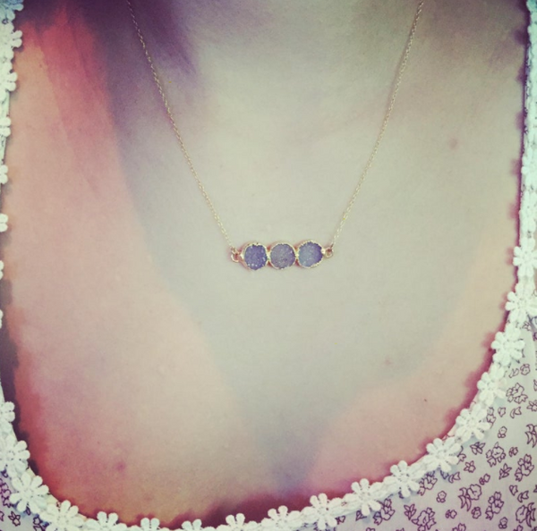 Three Circle Short Druzy Bar Necklace