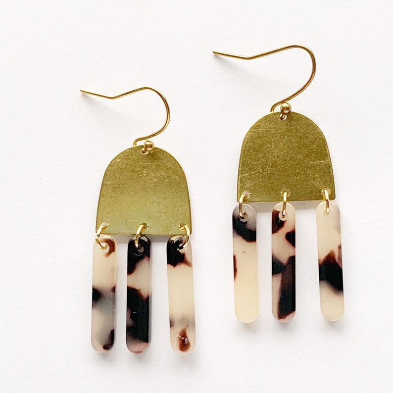 Tortoise Shell Bar and Brass Dangle Earrings