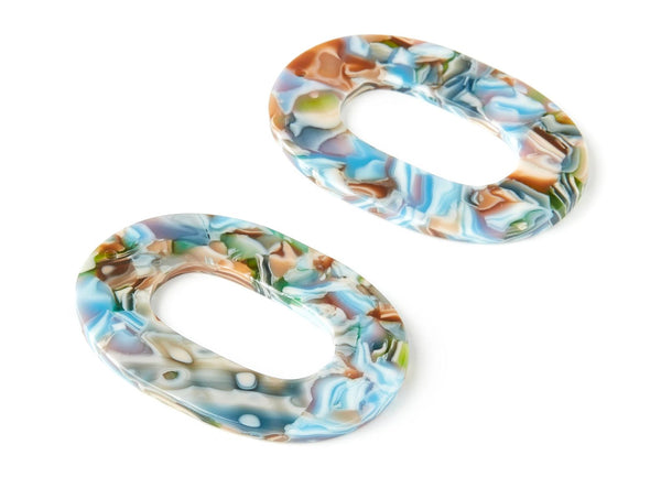 Sunburst Acetate Multi Colored Tortoise Shell Opal Hoop Dangle Earrings