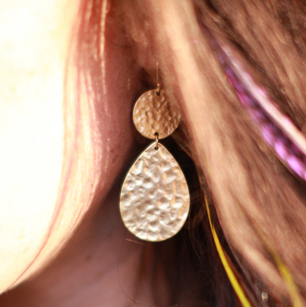 Double Drop Hammered Earrings