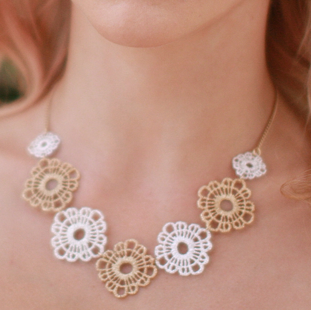 Floral Filigree Metal Lace Necklace