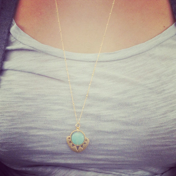 Aztec Sun and Stone Necklace