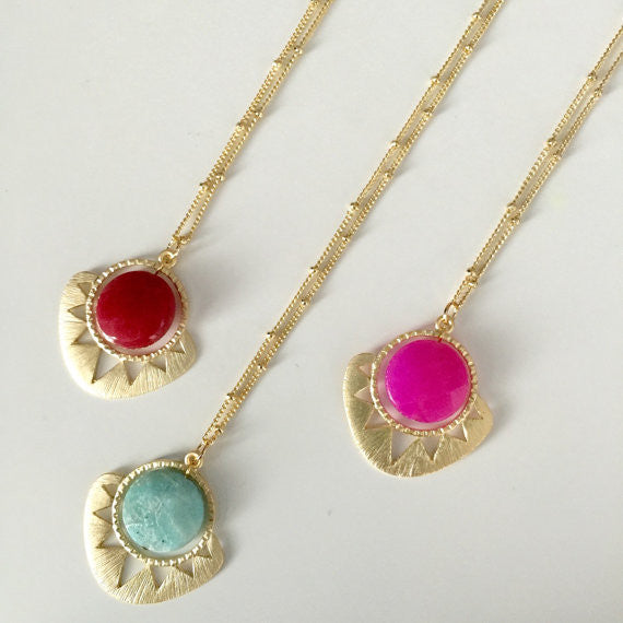 Geometric Sun and Stone Necklace SALE