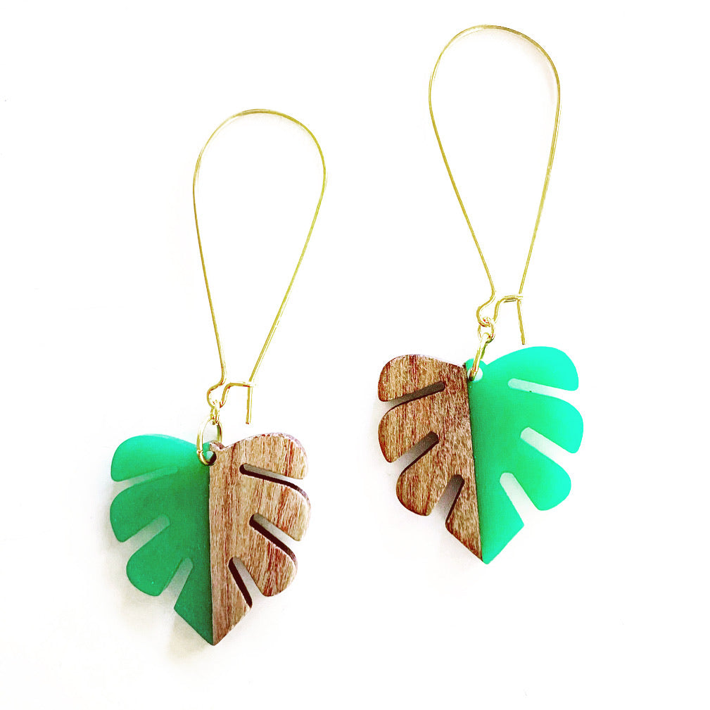Resin and Wood Monstera Drop Earrings
