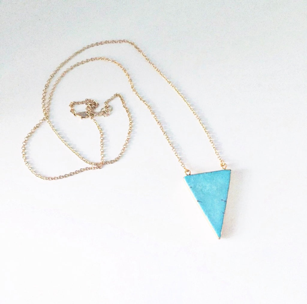 Long Turquoise Triangle Necklace