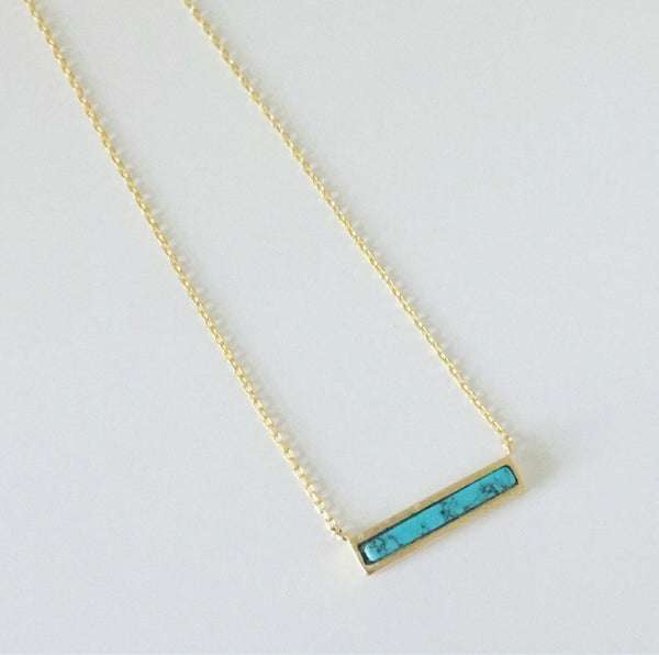 Tiny Turquoise Bar Necklace