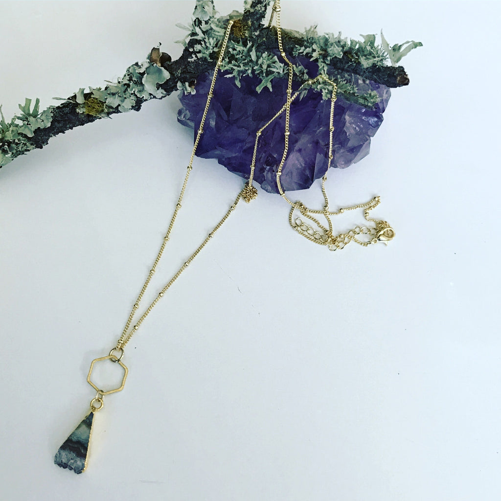 Hexagon and Amethyst Necklace