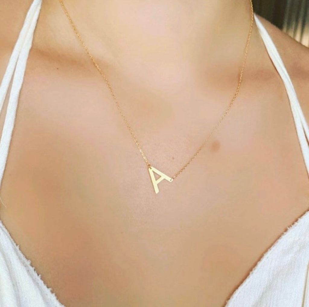 Brushed Gold Sideways Inset Initial Necklace