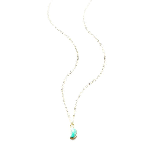 Dainty Turquoise Moon Necklace