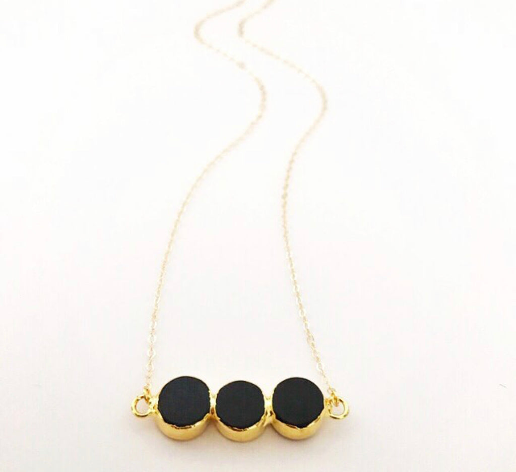 Triple Black Circle Necklace