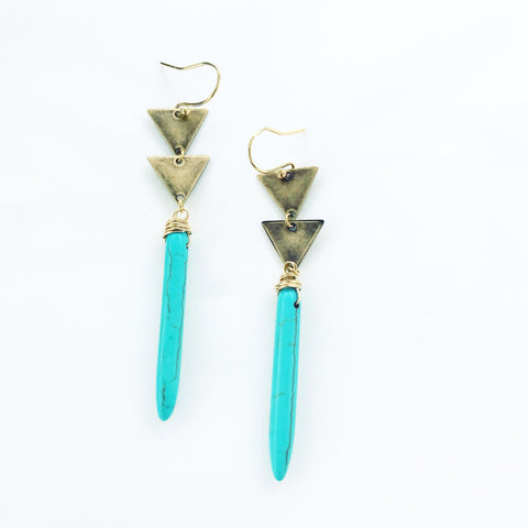 Brass Triangle Turquoise Spear Earrings