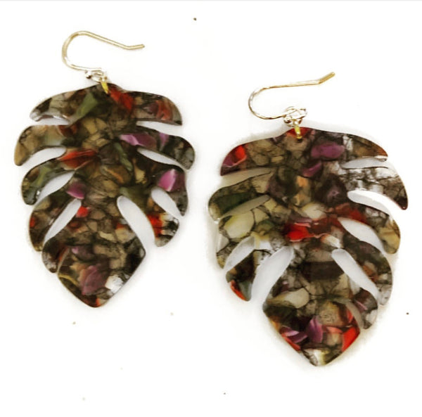 Autumn Tone Monstera Earrings