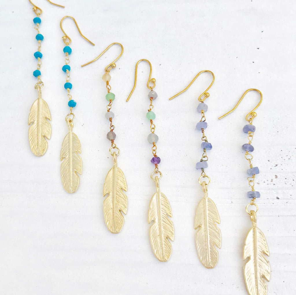 Beaded Crystal Feather Earrings