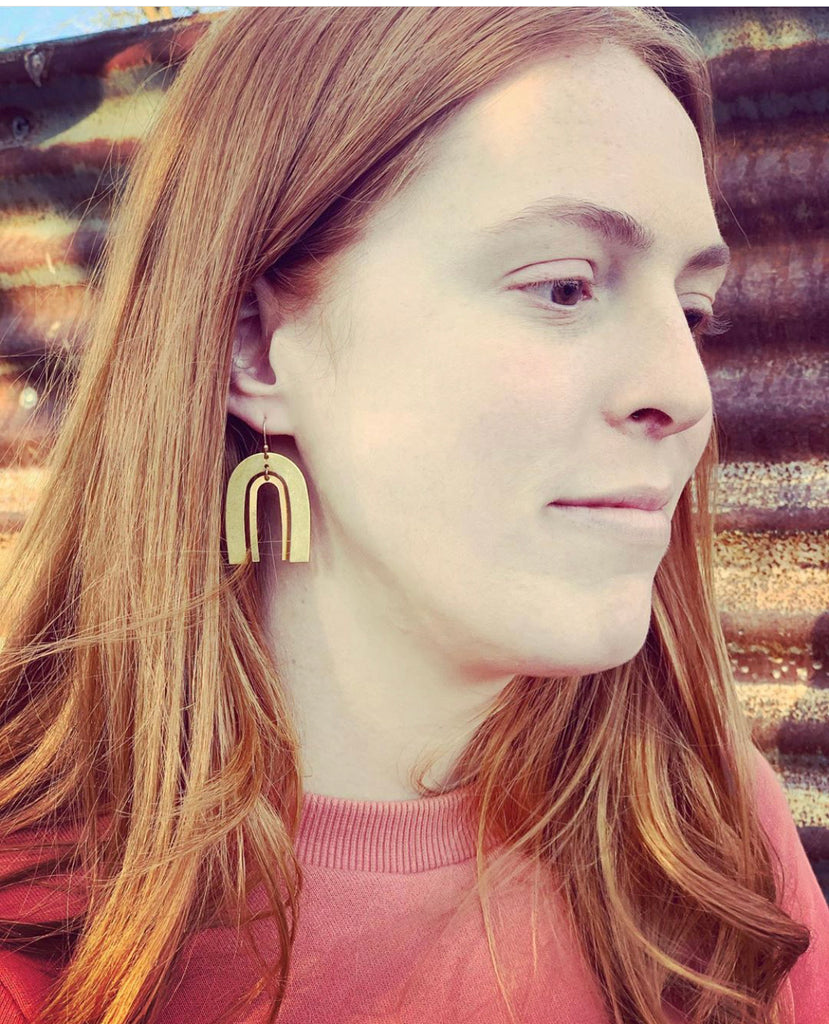 Double Brass Arch Earrings