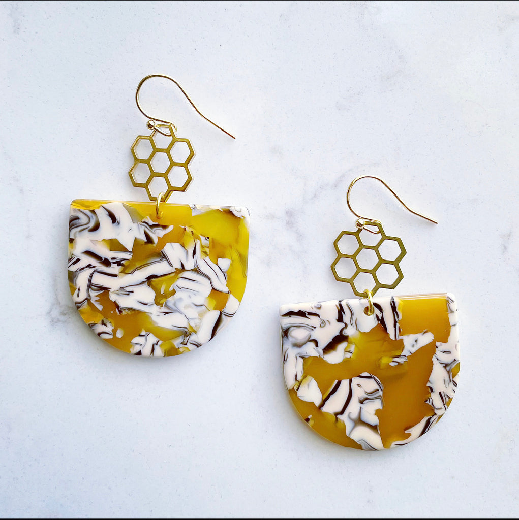 Honey Comb Yellow Acetate Dangle Earrings