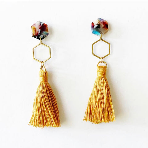 Acetate Hexagon Tassel Earrings