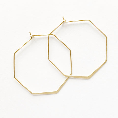 Hexagon Hoop Earrings
