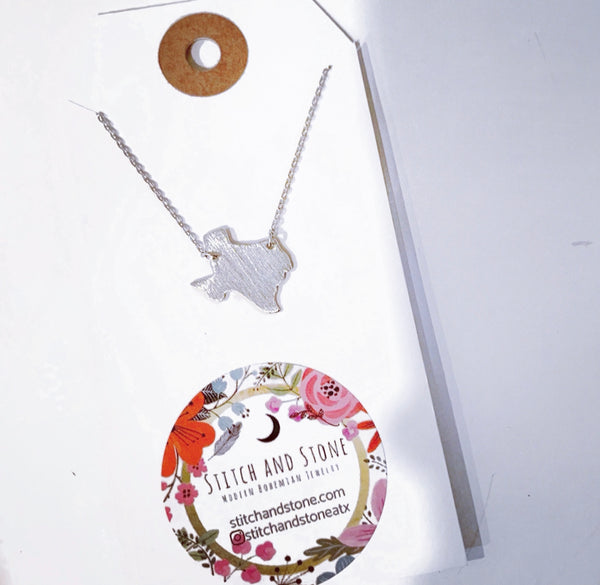 Silver Texas Necklace to support Texas Central Food Bank