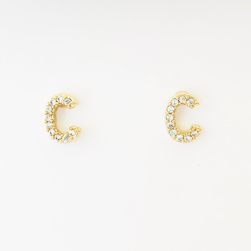 Bling Initial Stud Earrings