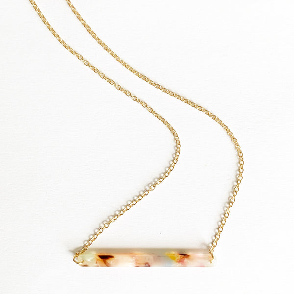 Tortoise Shell Acetate Bar Necklace