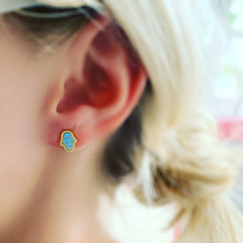 Opal Hamsa Stud Earrings