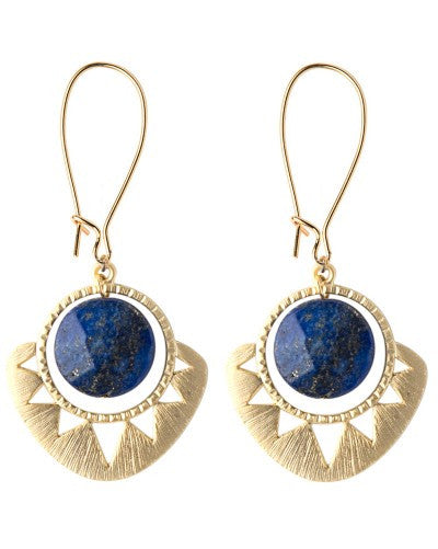 Aztec Sun and Stone Earrings