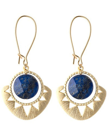 Geometric Sun and Stone Earrings