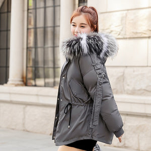 Winter Jacket Cotton Padded Warm Thicken Black and White Fur Collar