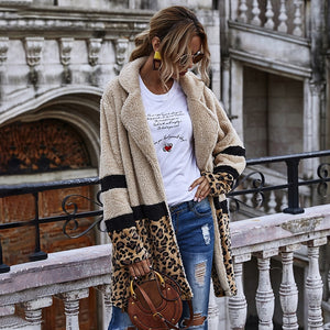 Open Stitch Flocking Plush Leopard Jacket