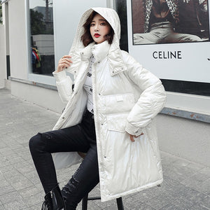 New Glossy Parka Oversize Coat Winter Jacket